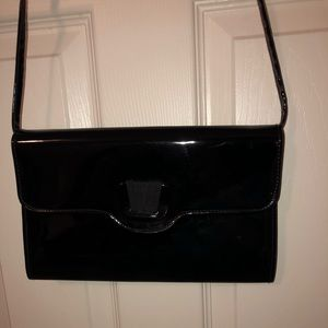 Vintage black leather cross body purse